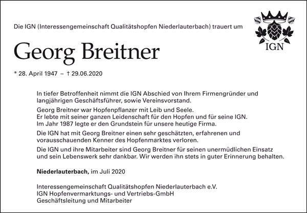 Nachruf Georg Breitner